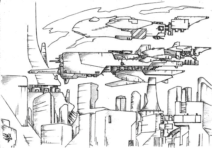 Panorámica ciudad futurista…